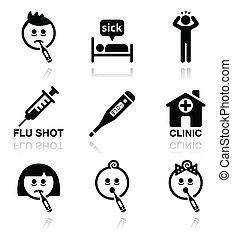 ikonok, emberek, hideg, beteg, influenza, vektor