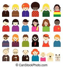 ikonok, emberek, jelkép, különféle, család