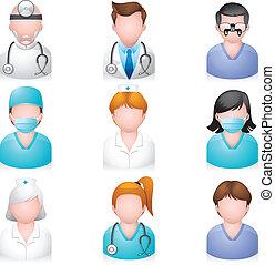 ikonok, emberek, -, orvosi