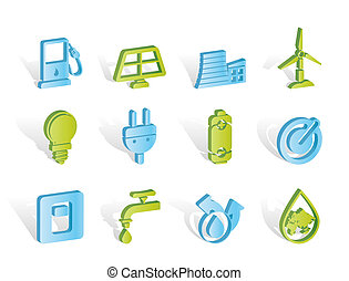 ikonok, energia, erő, ökológia