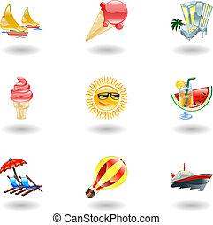 ikonok, fényes, nyár