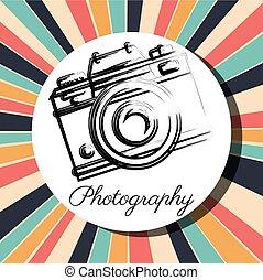 ikonok, fényképezőgép, tervezés