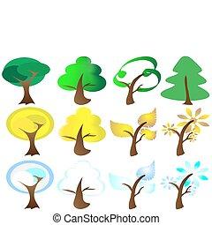 ikonok, fűszerezni, négy, fa