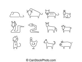 ikonok, fehér, állatöv, állat letesz, háttér.