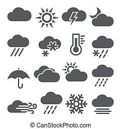 ikonok, fehér, állhatatos, háttér, időjárás