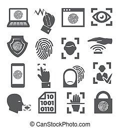 ikonok, fehér, biometric, állhatatos, háttér
