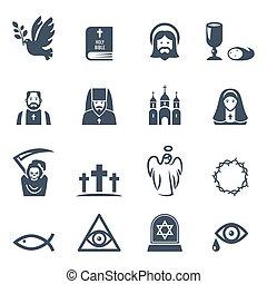ikonok, fekete, állhatatos, vektor, vallás
