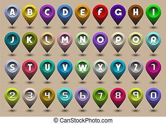 ikonok, forma, számok, irodalomtudomány, abc, gps