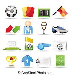 ikonok, futball, sport, labdarúgás