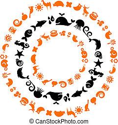 ikonok, -, gyűjtés, bolygó, ökológiai, állat