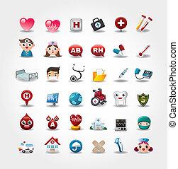 ikonok, gyűjtés, kórház, vektor, orvosi