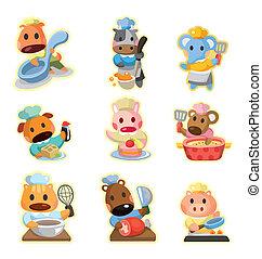 ikonok, gyűjtés, séf, vektor, karikatúra, állat