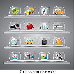 ikonok, gyűjtés, utazás, áttetsző, csinos, pohár, gombol