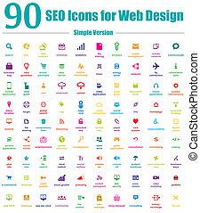 ikonok, háló, egyszerű, seo, tervezés, 90