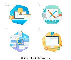 ikonok, háló, menedzser, kialakulás, seo, anyag, díszlet tervezés