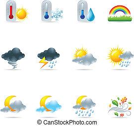 ikonok, háló, több, időjárás, -
