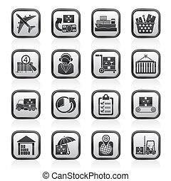 ikonok, hajózás, munkaszervezési, rakomány