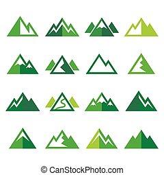 ikonok, hegy, állhatatos, vektor, zöld