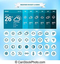 ikonok, időjárás, widget