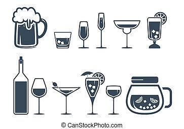 ikonok, ital, alkohol, állhatatos, ital