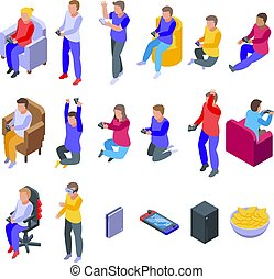 ikonok, játékok, video, mód, állhatatos, gyerekek, játék, isometric