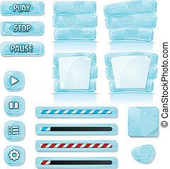 ikonok, jég, pohár, játék, ui, karikatúra
