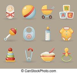 ikonok, jelkép, gyakorlatias, csecsemő, ábra, állhatatos, vektor, karikatúra, gyermekkor