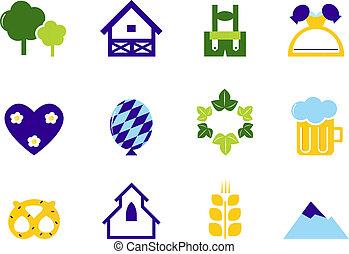 ikonok, jelkép, octoberfest, németország, elszigetelt, &, fehér