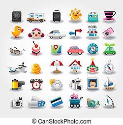 ikonok, jelkép, utazás, ábra, vektor, collection.