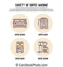ikonok, kávéház, kávécserje, sablon, restaurant., profi, bolt, machines., vektor, grafikus, felszerelés, tervezés, egyenes, lista, híg, lakás