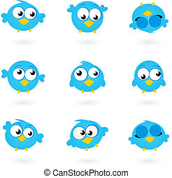 ikonok, kék, csicsergés, csinos, madarak, elszigetelt, jottányi, vektor, gyűjtés