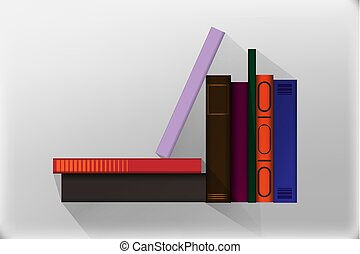ikonok, könyv, style., ábra, elszigetelt, vektor, tervezés, lakás