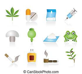ikonok, különböző, kábítószer, fajta