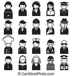 ikonok, különféle, emberek, foglalkozás
