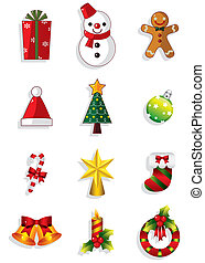 ikonok, karácsony, set., vektor