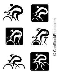 ikonok, kerékpározás, fonás