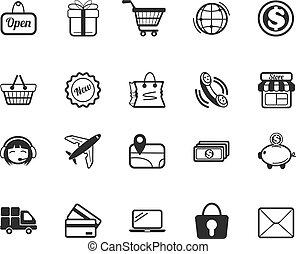 ikonok, kereskedelem, kelet, állhatatos, vektor