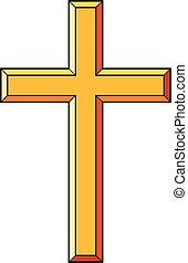 ikonok, keresztény, vektor, ábra, kereszt