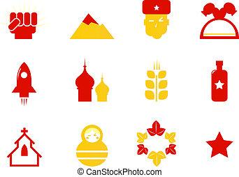 ikonok, kommunista, sztereotíp, oroszország, elszigetelt, &, fehér