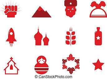 ikonok, kommunizmus, oroszország, (, elszigetelt, állhatatos, piros, ), fehér