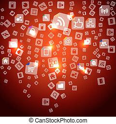 ikonok, média, elvont, modern, lefelé, társadalmi, esés