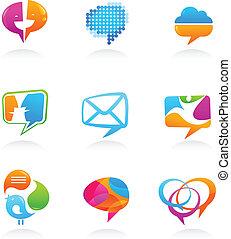 ikonok, média, gyűjtés, beszéd, társadalmi, panama