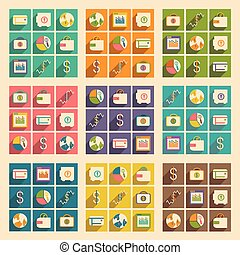 ikonok, mozgatható, bussiness, alkalmazás, árnyék, lakás, fogalom