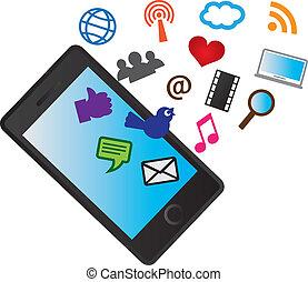 ikonok, mozgatható, média, telefon, sejtekből álló, társadalmi