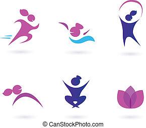ikonok, nők, wellness, sport