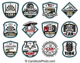 ikonok, olaj, autó, autógumi, elem, alkatrészek, kímél, motor