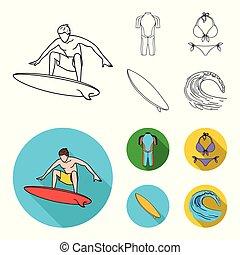 ikonok, részvény, mód, szörfözás, bikini, jelkép, web., ábra, surfboard., hullámlovas, állhatatos, gyűjtés, vektor, lakás, wetsuit, áttekintés