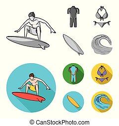 ikonok, részvény, mód, szörfözás, bikini, jelkép, web., monochrom, ábra, surfboard., hullámlovas, állhatatos, gyűjtés, vektor, lakás, wetsuit
