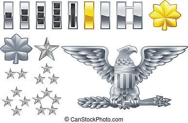 ikonok, rangban megelőz, amerikai, jelvény, tiszt, hadsereg
