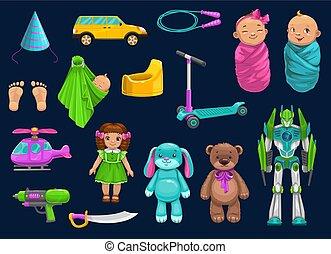 ikonok, robot, baba, játékszer, csecsemő, roller, hord, autó